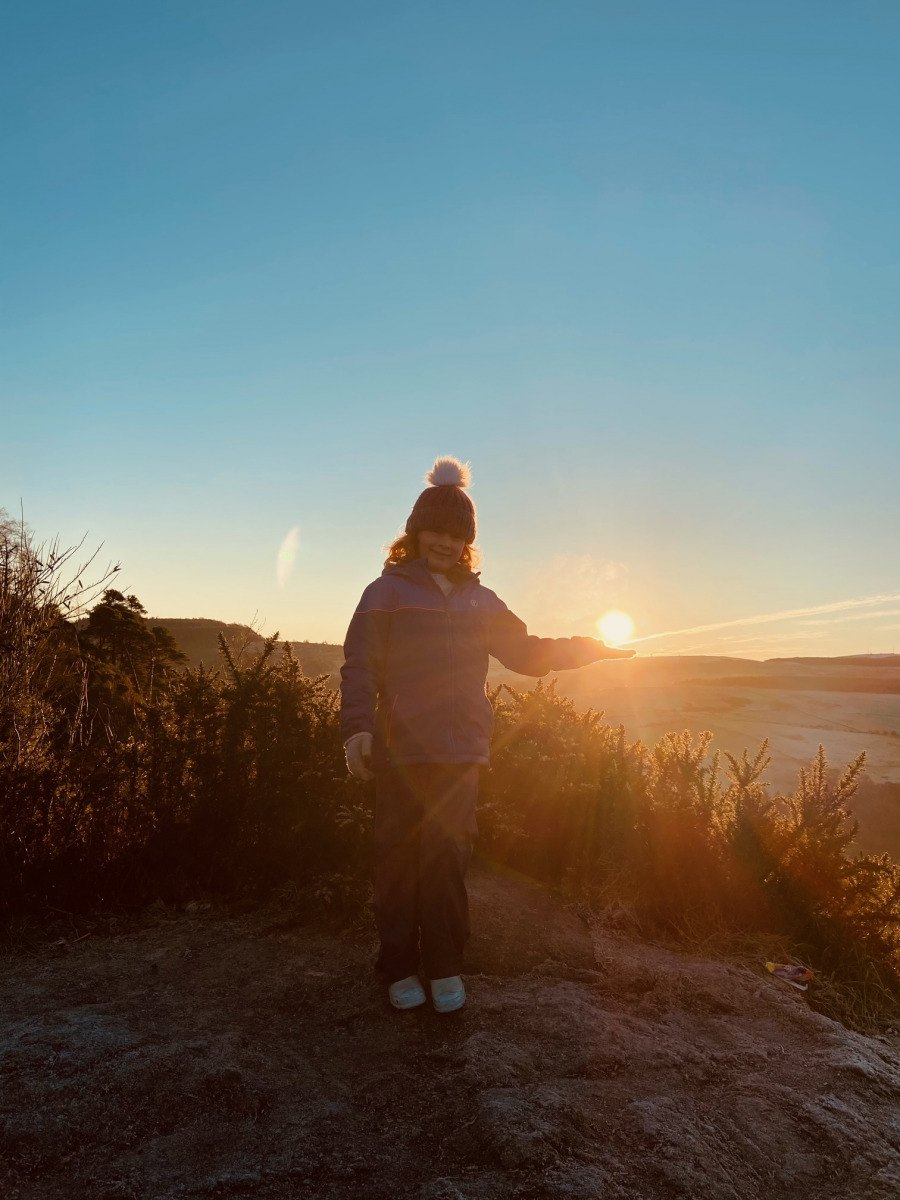 Jen Macleod: Frosty sunset at the viewpoint in the woods